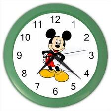 "Brand New Mickey Mouse Green Frame 10"" Round Wall Clock"
