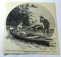 1886 magazine engraving~ YACHTING ADVENTURE, Gentleman helps a stranded woman