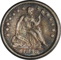 1858-O H10C SEATED SILVER HALF DIME VF / XF  DETAILS DAMAGED / BENT   041521055