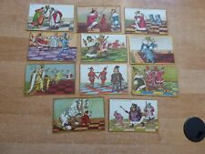 11 Postkarten Serie Karikaturen mit vermenschlichten Schachfiguren ca. 1910