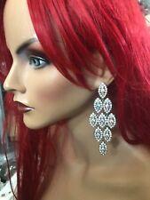 "3.5"" Long AB Clear Rhinestone Prom Crystal SILVER Pageant Bridal Earrings"