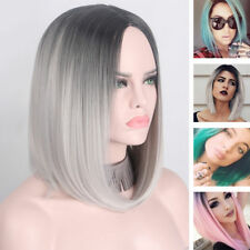 Novelty Silver Grey Women Long Straight Bob Wig Heat Resistant Synthetic Ombre
