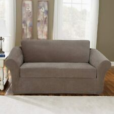 NEW Stretch Pique scatterback Loveseat Slipcover Taupe Box-cushion by sure fit