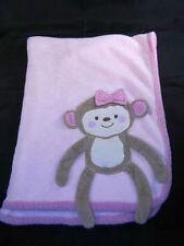 Koala Baby Pink Monkey 3D Blanket Bow Plush Fleece 30 x 40 Security Lovey Tan