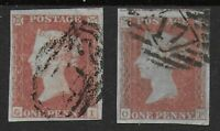 SG8 & 8a - 1d.Red Brown & Ditto-On Very Blue Paper. VFU With 4 Margins. Ref:0.15