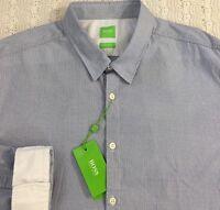 HUGO BOSS Men's L/S Shirt XXL 2XL Reg Fit Blue Gray Geometric NWT BUSTAI $145