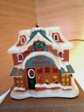 """Avon Snow Frost Falls Victorian Village Light Cover Toy Shoppe w/ Box 3"""" high"""