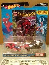 Mattel Marvel How Wheels Spider-Man vs Venom 2 Cars set with Mini Comic Book
