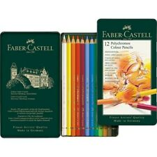 FABER CASTELL POLYCHROMOS COLOUR PENCILS SET OF 12 IN TIN ART COLOURING PENCILS