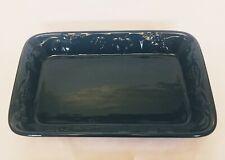 "Green Baking Casserole Dish Embossed w/ Fruits Rectangular 14""X 9"" solid"