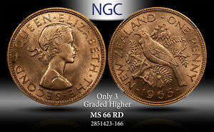 1965 NEW ZEALAND 1 PENNY NGC MS 66 RD ONLY 3 GRADED HIGHER