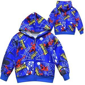 Kids Boys Spiderman Sweatshirt Hoodies Hooded Jacket Coat Tops Casual Outwear UK