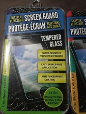Shatter-Resistant Screen Guard Tempered Glass for iPhone 6, 6s, 7, lot of 2