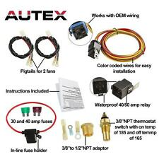 NEW DUAL ELECTRIC COOLING FAN WIRING INSTALL KIT 185/165 THERMOSTAT 50 AMP RELAY