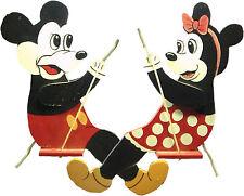 Pair of Mickey & Minnie on Swings Wooden Folk Art Wall Hangings VINTAGE RARE