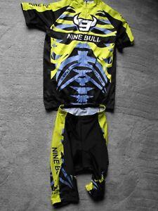 NEW NINE BULL Cycling Jersey & Shorts Set - Green, Black & Gray - Men's 2XL NWT