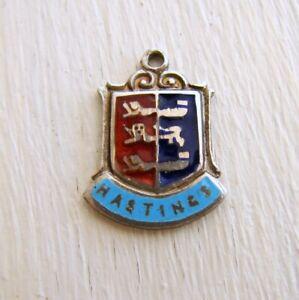 Hastings England Travel Shield Vintage Sterling Silver Bracelet Charm Enamel