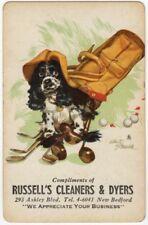 Playing Cards 1 Swap Card - Old Vintage SPRINGER SPANIEL Dog BUTCH Golf STAEHLE