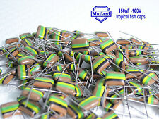 150nF -100V Mullard Tropical Fish Capacitors  x 25 Pieces