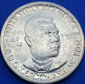 ●《♡☆♡》1946-P Booker T Washington Commerative Half Dollar, Gem Uncirc., $0.50 USD