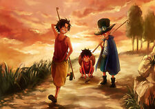 STICKER AUTOCOLLANT POSTER A4 MANGA ONE PIECE.LUFFY ACE & SABO ENFANT-KID.