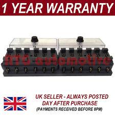 NEW 12 WAY UNIVERSAL STANDARD 12V 12 VOLT ATC BLADE FUSE BOX / COVER CARAVAN