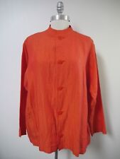 2172d70169 SHIRIN GUILD orange red coral linen button front oversized boxy jacket size  M