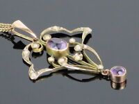 Art Nouveau c1900 Amethyst and Seed Pearl 9K pendant and chain, 5g
