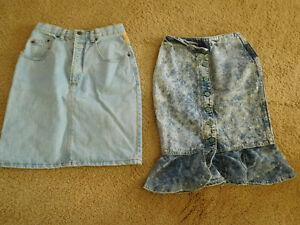Vintage 80's/90's  denim skirts ~ OXYGEN & GUESS~ Sm. Petite~FREE SHIP~NICE~