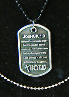 BOLD Christian Dog Tag Necklace BE STRONG Bible Scripture Verse Joshua 1:9