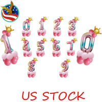 14 Pcs Kit Foil Balloons Numbers Crown Birthday Party Photo Decor Rainbow Color