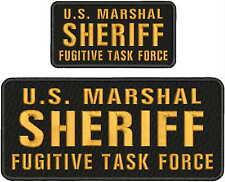 U.S. MARSHAL SHERIFF FUGITIVE TASK FORCE EMB PATCH 4.75X11&3X6HOOK/BACK/BLA/GOLD