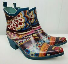 Corkys Rubber Boots Size 7 Colorful Print Pointy Toe Ankle Heels Bootie