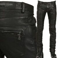 2016 mens Punk Rock black Leather Motorcycle Slim Fit leather Pants Trousers