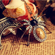 New Fashion Vintage Bronze Spider Pendant Long Necklace Retro Sweater Chain