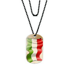 Vintage Hungarian Flag Hungary Acrylic Dog Tag with Black Ball Chain