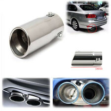 L 140MM Chrome Bevel Car Exhaust Pipe Tip Muffler Steel Stainless Trim Tail Tube