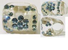 bague haute bijou rétro résine translucide fleur cristal bleu belle effet T.52
