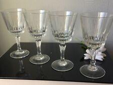 Retro French Luminarc Medium Wine Glasses Goblets Set of 4 Clear Cups 120mL Stem