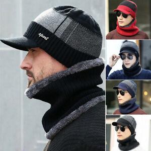 Men Winter Warm Hat Knit Visor Beanie Fleece Lined Billed Beanie with Brim Caps