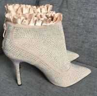 Belle Women Ankle Boots 5 38 Sparkly Diamonte Blush Pink High Heel Bridal Shoes