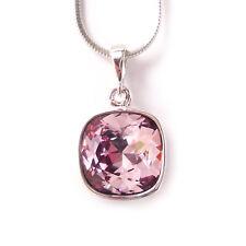 Antique Pink Crystal Drop Necklace w/ 12mm Swarovski Cushion Cut Square Pendant