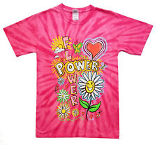 Women Pink Tie and Die Flowers Print Hanes 100% Cotton T-Shirts New