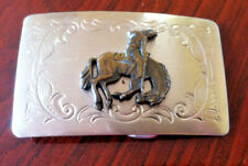 Vintage Rodeo Cowboy Belt Buckle Silver Metal Polo Horse Rider Arts Sewing USA