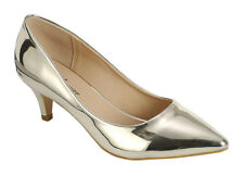 Womens Metallic Pointy Toe Kitten Med Low Stiletto Heel Slip On Pump Slide Shoes
