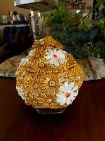 Retro Daisy Gold White Jar w Lid Vintage Kitschy Decor 1970's 60's ? Country