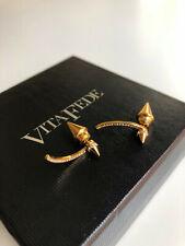 Vita Fede Titan Double Spike Studs Crystals Earring Gold