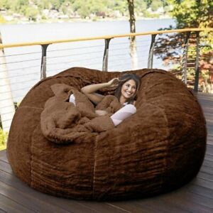 7Ft Bean Bag Chair with Furry Fur Cover Machine Washable Big Size Sofa Furniture