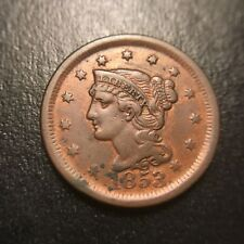 1853 Braided Hair Large Cent AU About Uncirculated Coronet Late Date Newcomb EAC