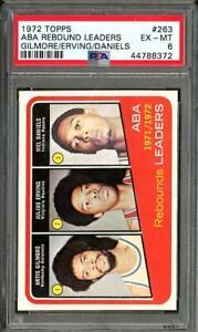 1972 Topps ABA Rebound Leaders Artis Gilmore Julius Erving Mel Daniels PSA 6
